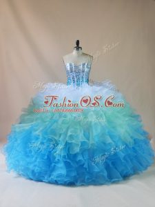 Superior Organza Sweetheart Sleeveless Lace Up Beading and Ruffles Sweet 16 Quinceanera Dress in Multi-color