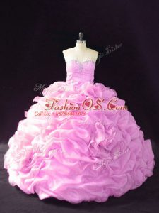 Lilac Organza Lace Up 15 Quinceanera Dress Sleeveless Court Train Beading and Pick Ups and Hand Made Flower