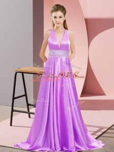 Custom Design Lavender Mother Of The Bride Dress Prom and Party with Beading V-neck Sleeveless Brush Train Backless