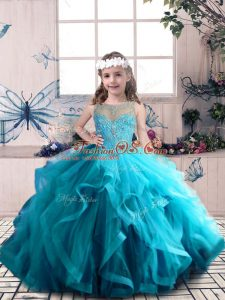 Tulle Scoop Sleeveless Lace Up Beading and Ruffles Little Girl Pageant Dress in Blue