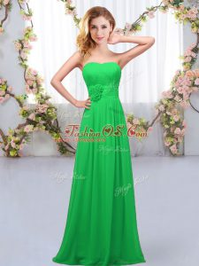 Sweetheart Sleeveless Chiffon Quinceanera Court of Honor Dress Hand Made Flower Lace Up