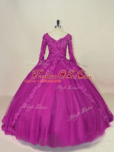 Traditional V-neck Long Sleeves Lace Up 15 Quinceanera Dress Fuchsia Tulle