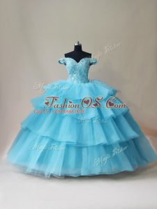 Sexy Aqua Blue Lace Up Off The Shoulder Beading and Ruffled Layers Quince Ball Gowns Organza and Tulle Sleeveless