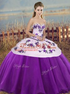Smart Embroidery and Bowknot Quince Ball Gowns White And Purple Lace Up Sleeveless Floor Length