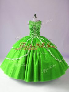 Lovely Green Sleeveless Tulle Zipper Sweet 16 Quinceanera Dress for Sweet 16 and Quinceanera