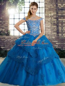 Lace Up 15 Quinceanera Dress Blue for Military Ball and Sweet 16 and Quinceanera with Beading and Lace Brush Train