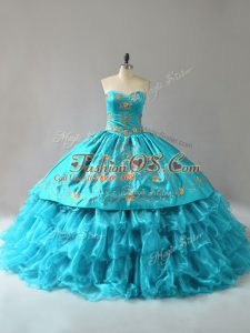 Fine Ball Gowns Quinceanera Gowns Aqua Blue Sweetheart Organza Sleeveless Floor Length Lace Up