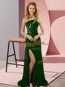 Green Column/Sheath One Shoulder Sleeveless Elastic Woven Satin Sweep Train Lace Up Beading Dress for Prom