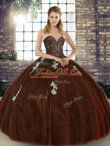 Traditional Brown Ball Gowns Sweetheart Sleeveless Tulle Floor Length Lace Up Beading and Appliques Quinceanera Gown