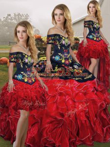 Traditional Ball Gowns 15 Quinceanera Dress Red And Black Off The Shoulder Organza Sleeveless Floor Length Lace Up