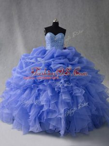 Nice Sweetheart Sleeveless Lace Up 15 Quinceanera Dress Blue Organza