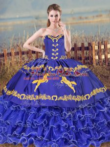Vintage Embroidery and Ruffled Layers Sweet 16 Quinceanera Dress Blue Lace Up Sleeveless Brush Train