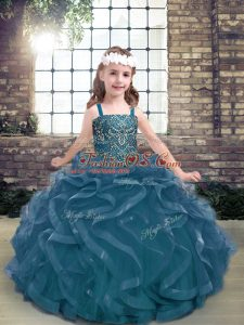 Simple Sleeveless Tulle Floor Length Lace Up Girls Pageant Dresses in Blue with Beading and Ruffles