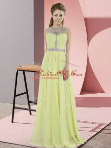 Yellow Scoop Zipper Beading Mother Of The Bride Dress Sleeveless