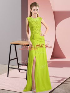 Customized Yellow Green Scoop Neckline Beading Mother Of The Bride Dress Sleeveless Zipper
