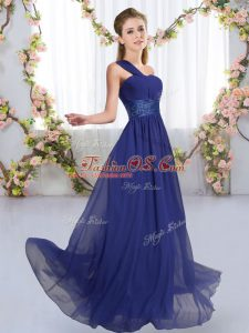 Royal Blue Bridesmaids Dress Wedding Party with Ruching One Shoulder Sleeveless Lace Up