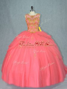 High Class Sleeveless Tulle Brush Train Lace Up 15th Birthday Dress in Watermelon Red with Beading