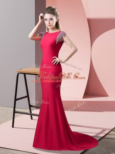 Short Sleeves Elastic Woven Satin Brush Train Backless Homecoming Dress in Coral Red with Beading