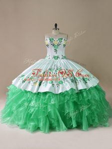 Sleeveless Organza Brush Train Lace Up Quinceanera Gowns in Green with Embroidery