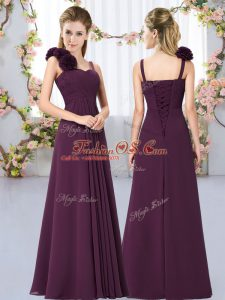 Fantastic Dark Purple Chiffon Lace Up Straps Sleeveless Floor Length Wedding Party Dress Hand Made Flower