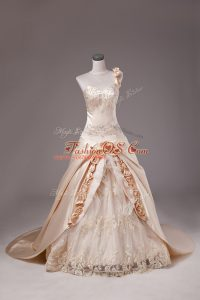 Champagne Lace Up Quince Ball Gowns Embroidery and Hand Made Flower Sleeveless Brush Train