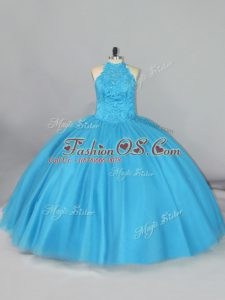 Amazing Sleeveless Beading and Lace Lace Up Quinceanera Gowns with Aqua Blue Brush Train