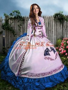 Pretty Blue And White Satin Lace Up Sweet 16 Dress Sleeveless Floor Length Embroidery and Ruffles