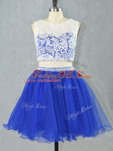 Delicate Royal Blue Organza Zipper Scoop Sleeveless Mini Length Cocktail Dress Lace and Appliques