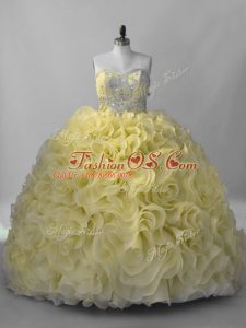 Extravagant Yellow Ball Gowns Sweetheart Sleeveless Fabric With Rolling Flowers Lace Up Beading Sweet 16 Dress