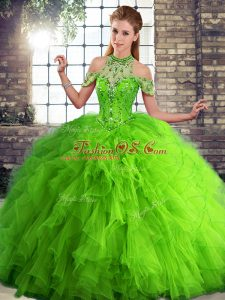Tulle Sleeveless Floor Length Quinceanera Gowns and Beading and Ruffles