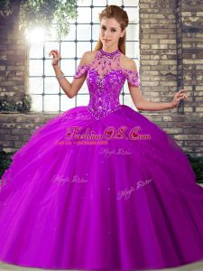 Purple Lace Up Ball Gown Prom Dress Beading and Pick Ups Sleeveless Brush Train