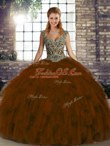 Cute Brown Ball Gowns Organza Straps Sleeveless Beading and Ruffles Floor Length Lace Up Quinceanera Gowns