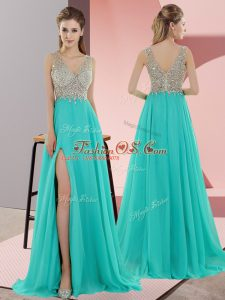 Fantastic Sleeveless Chiffon Sweep Train Zipper in Turquoise with Beading