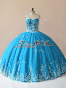 Modern Baby Blue Ball Gowns Embroidery 15th Birthday Dress Lace Up Tulle Sleeveless Floor Length