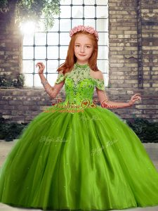 Custom Designed Olive Green Pageant Dress Party and Military Ball and Wedding Party with Beading Off The Shoulder Sleeveless Lace Up