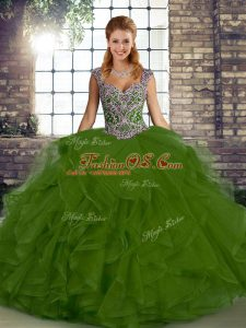 Glittering Floor Length Olive Green Sweet 16 Dress Straps Sleeveless Lace Up