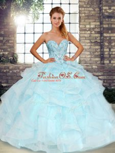 Luxury Light Blue Tulle Lace Up Ball Gown Prom Dress Sleeveless Floor Length Beading and Ruffles