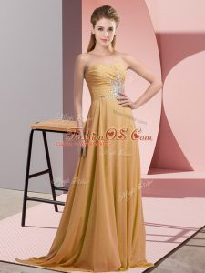 Sleeveless Floor Length Beading Lace Up Mother Of The Bride Dress with Gold
