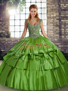 Flare Beading and Ruffled Layers Sweet 16 Dress Green Lace Up Sleeveless Floor Length