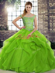 Custom Designed Green Tulle Lace Up Sweet 16 Dresses Sleeveless Brush Train Beading and Ruffles
