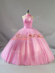 Smart Halter Top Sleeveless Lace Up Quinceanera Dress Baby Pink Tulle