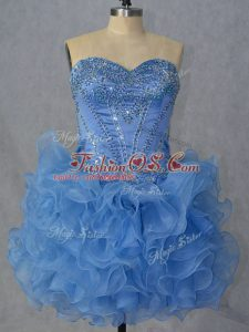 Noble Blue Lace Up Club Wear Beading and Ruffles Sleeveless Mini Length