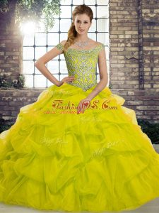 Off The Shoulder Sleeveless Tulle Quinceanera Dresses Beading and Pick Ups Brush Train Lace Up
