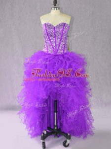 Modern Purple Organza Lace Up Sweetheart Sleeveless High Low Cocktail Dresses Beading and Ruffles