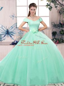 Sexy Off The Shoulder Short Sleeves Quinceanera Gown Floor Length Lace and Hand Made Flower Apple Green Tulle
