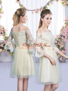 Champagne Tulle Lace Up Quinceanera Court Dresses 3 4 Length Sleeve Mini Length Lace and Bowknot