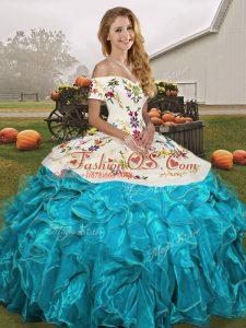 Aqua Blue Off The Shoulder Lace Up Embroidery and Ruffles 15 Quinceanera Dress Sleeveless