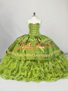 Satin and Organza Sweetheart Sleeveless Brush Train Lace Up Embroidery and Ruffled Layers Sweet 16 Dresses in Olive Green