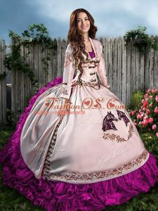 Fuchsia Sleeveless Organza Lace Up Sweet 16 Dress for Sweet 16 and Quinceanera