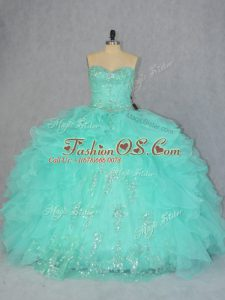 Hot Sale Sweetheart Sleeveless Ball Gown Prom Dress Floor Length Beading and Ruffles Apple Green Organza